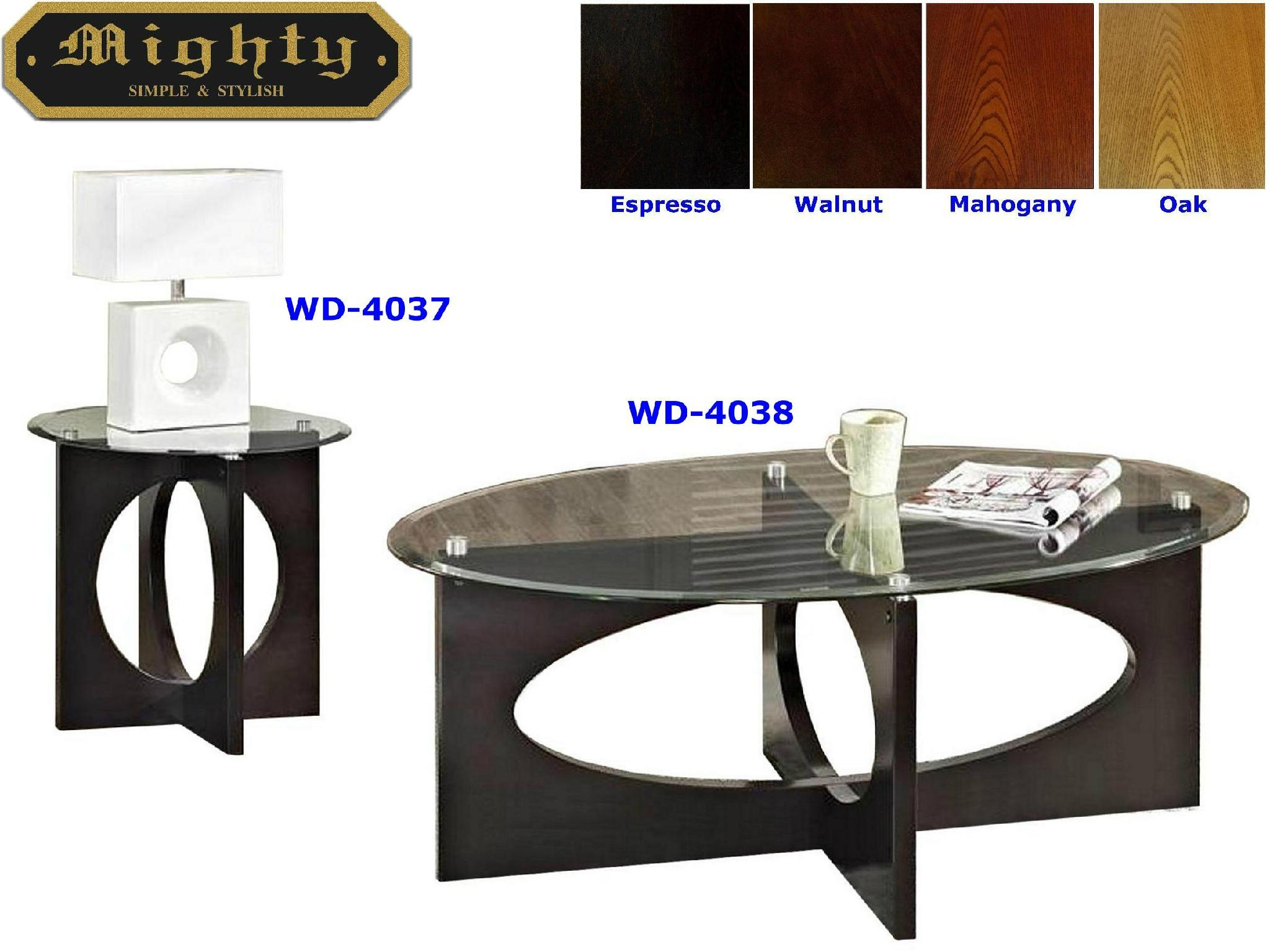 2PCS Wooden Hollow Core Oval And Round Black Glass Coffee Table