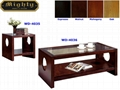 2PCS Wooden Mahogany Hollow Core Panel Glass Top Coffee Tables