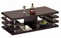 2PCS Wooden Espresso Modern Tiered Contemporary Coffee Tables