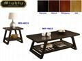 2PCS Wooden Espresso Unique Slat Wood Coffee Table
