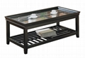 2PCS Wooden Tray Top Glass Espresso Coffee Table Sets