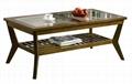 2PCS Living Room Walnut Modern Wood And Glass Coffee Table