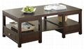 2PCS Espresso Living Room Chest Coffee Table With Storage