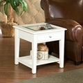 2PCS Wooden Glass Top White Coffee Table With Drawers