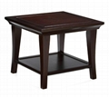 2PCS Wooden Traditional Dark Walnut Antique Coffee Table