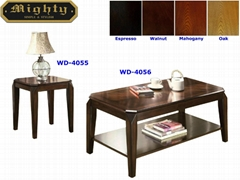 2PCS Pattern Table Top Dark Wood Designer Vintage Coffee Table