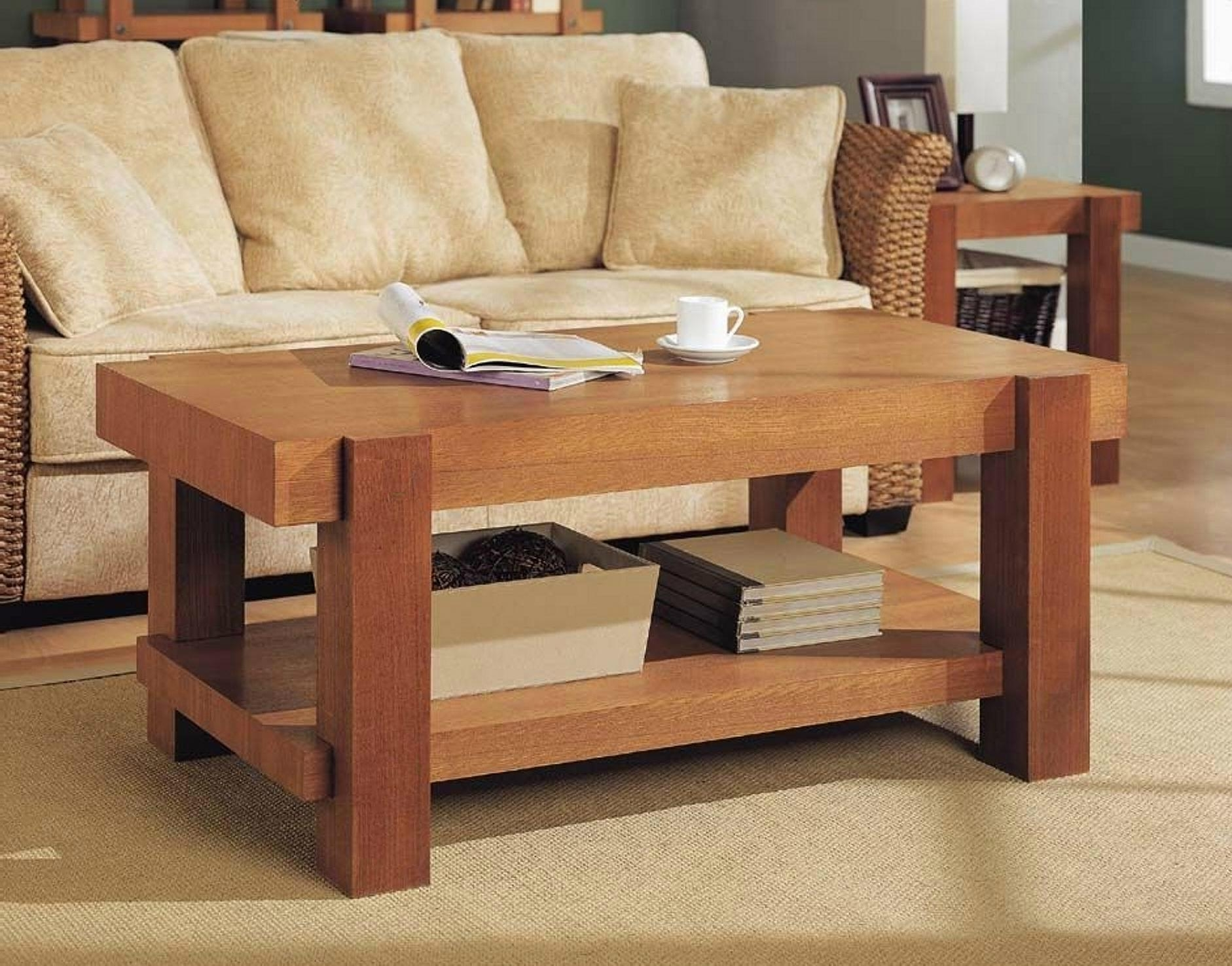 2PCS Wooden Living Room Natural Oak Block Wood Coffee Table WD