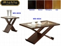 2PCS Wooden Espresso Living Room Folding Glass Coffee Table