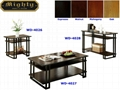 3PCS Espresso Double Strip Wood Large Funky Cool Coffee Tables