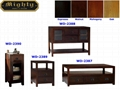 4PCS Wooden Living Room Reclaimed Walnut Retro Coffee Table Set