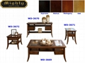 4PCS Wooden Walnut Antique Rustic Coffee Tables Glass