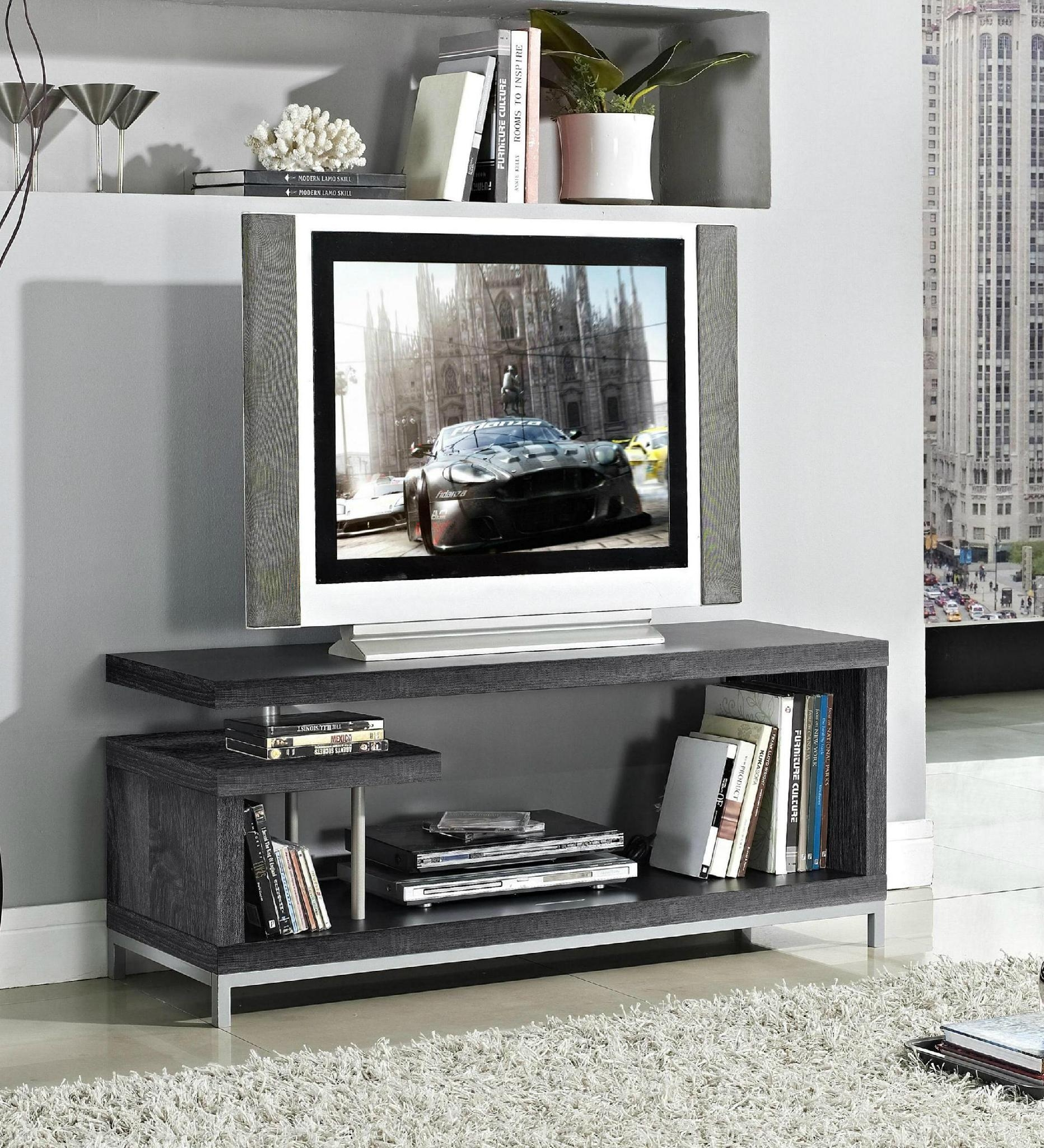 45 inch Wooden Grey Reclaimed LCD TV Table Stand 2