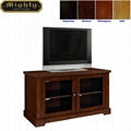 44 inch Walnut Two Door Media Glass TV Stand Unit