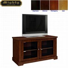44 inch Walnut Two Door Media Glass TV Stand Unit