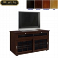 46 inch Walnut Sliding Door Living Room TV Stand With Storage