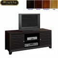 48 inch Wooden Espresso Slat Door Solid Wood TV Stand