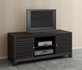 48 inch Wooden Espresso Slat Door Solid Wood TV Stand