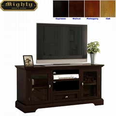 48 inch Dark Mahogany Bottom Drawer Vintage TV Cabinet