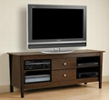 60 inch Wooden Two Drawers Walnut TV Stand For Flat Screen