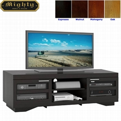 66 inch Low Base Two Glass Doors Large Flat TV Stands
