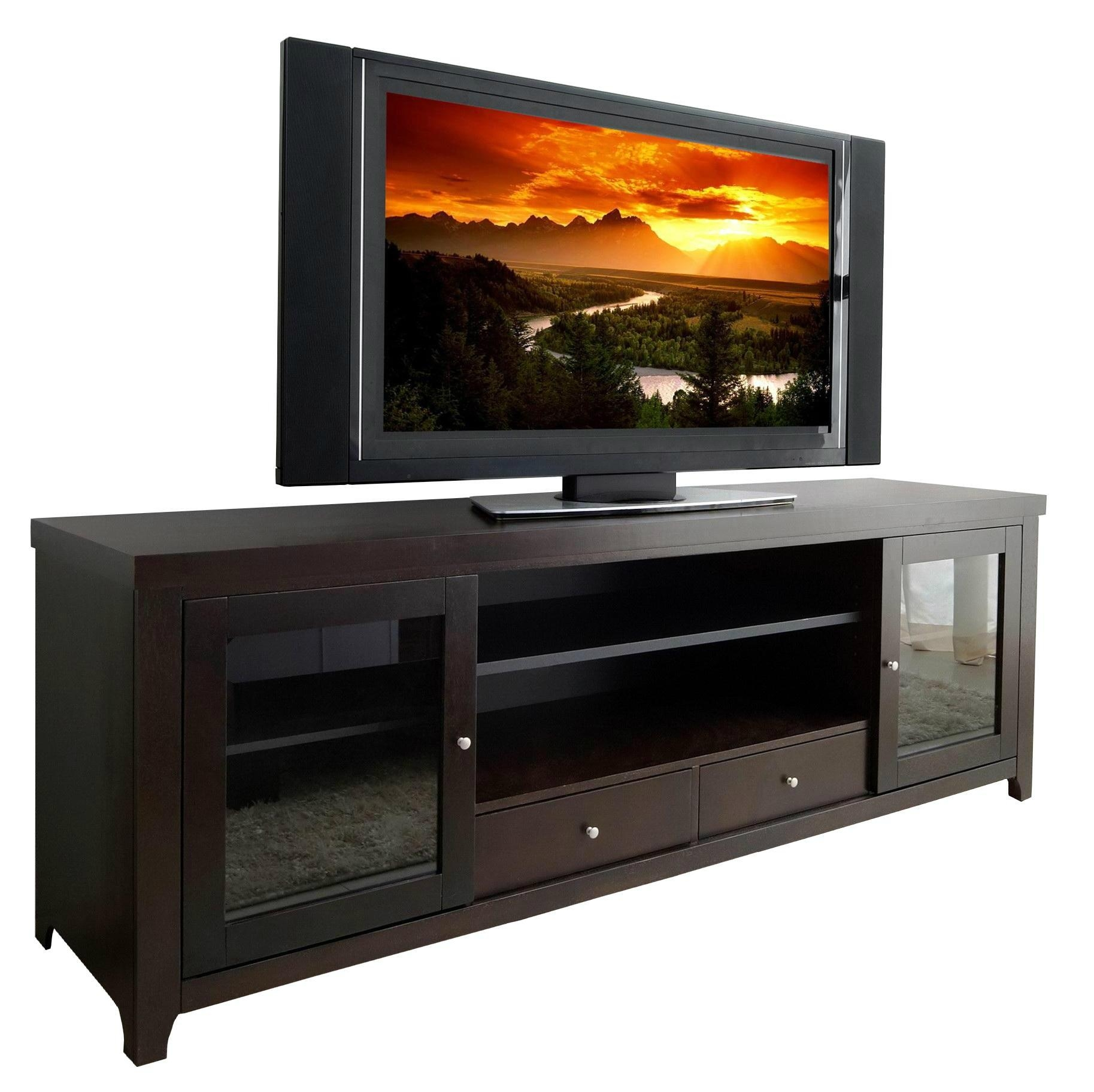 70 Inch Espresso Two Door TV Television Stands For Flat