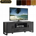 60 inch Wooden Reclaimed Grey Two Doors Media Storage Cabinet