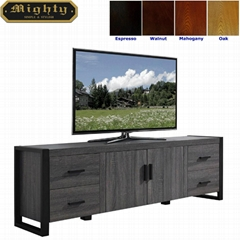 71 inch Wooden Reclaimed Grey Two Doors Media Storage Cabinets