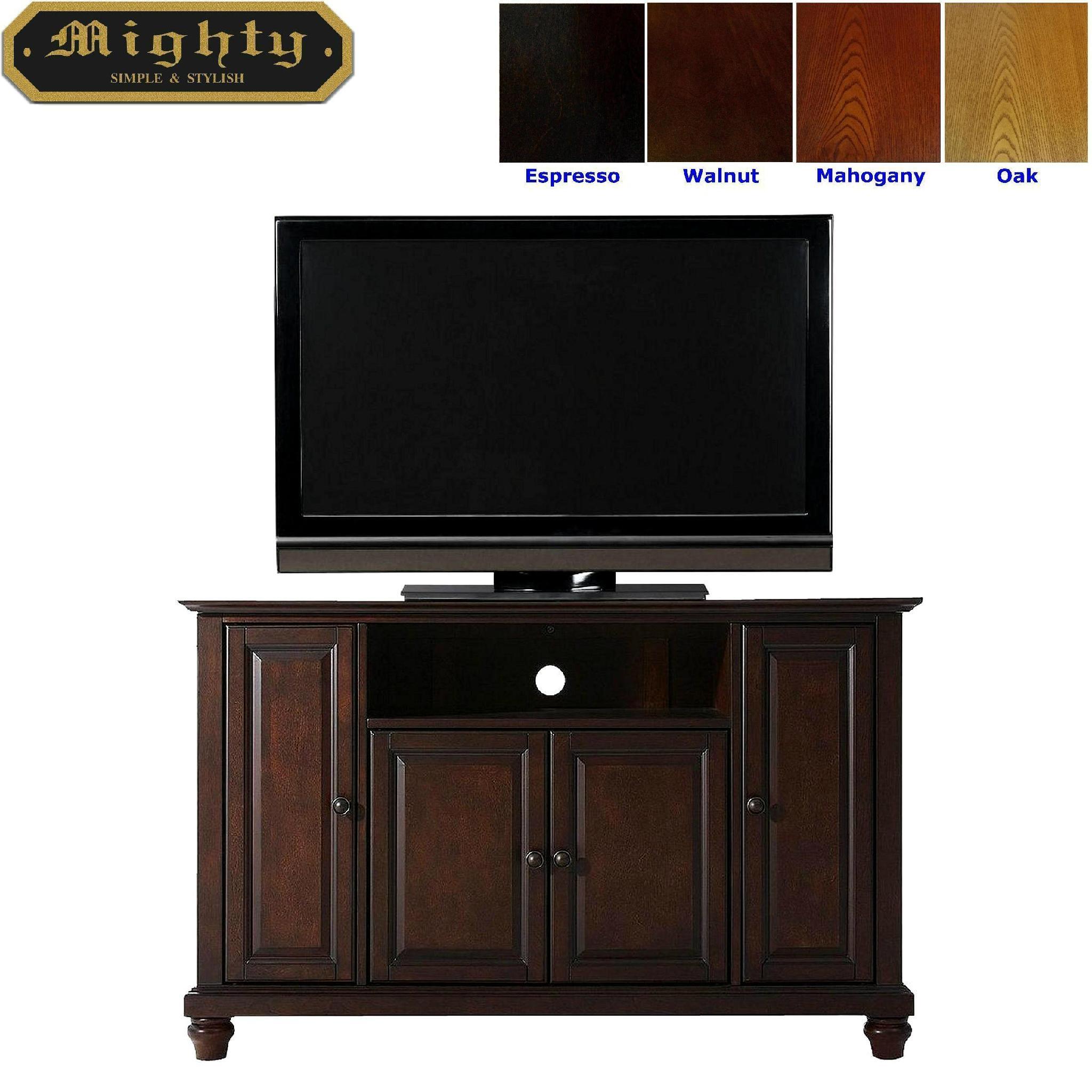 48 Inch Dark Walnut Wood Raised Doors Tv Cabinet Tv Stand Wood Wd