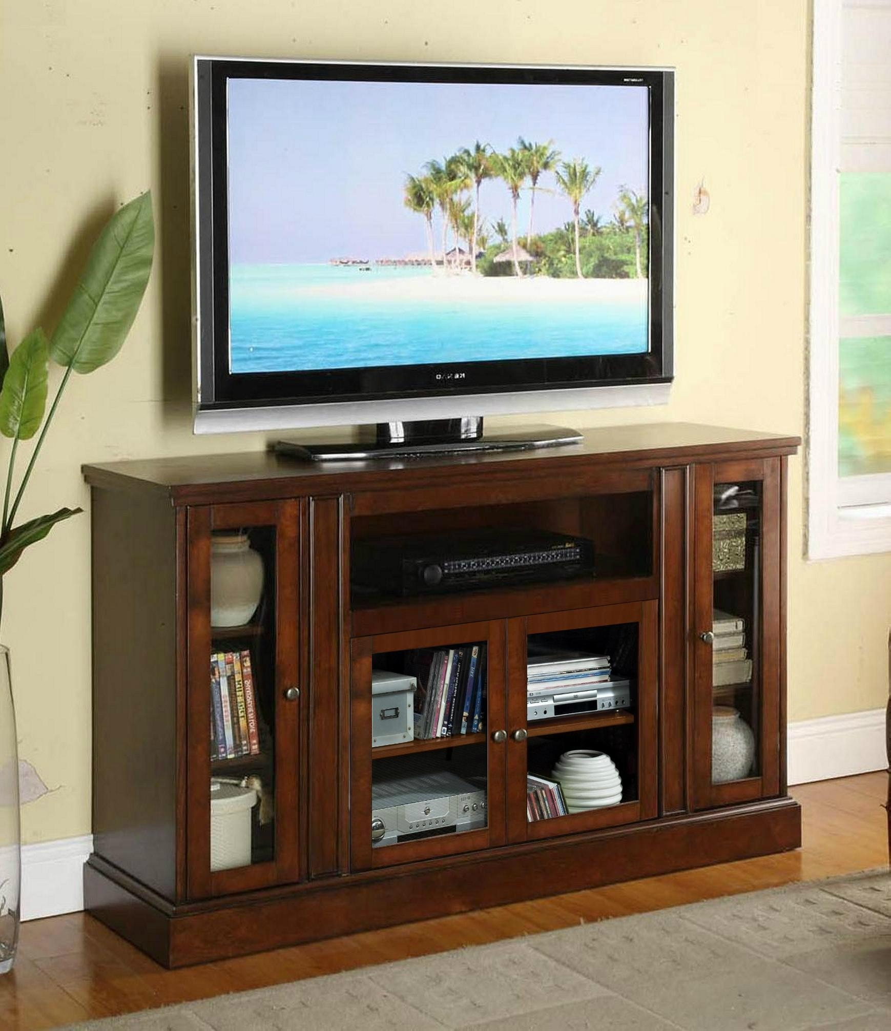 54 Inch Charcoal Grey 4 Glass Doors Rustic Tv Console