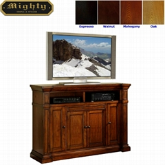 60 inch Cherry 4 Shaker Doors Long Antique Rustic TV Cabinet