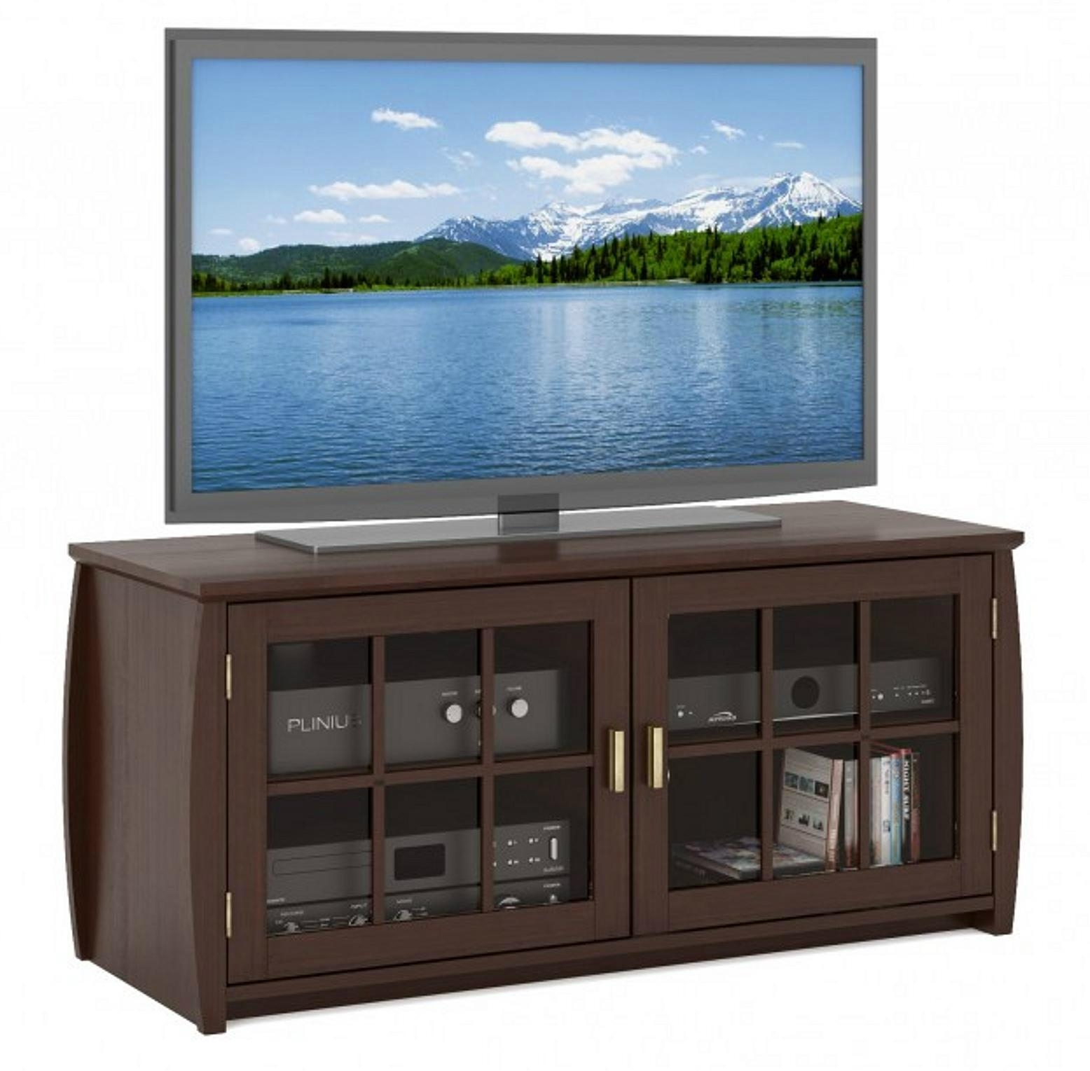 48 inch espresso television tv media cabinet with doors for Tv media storage cabinet