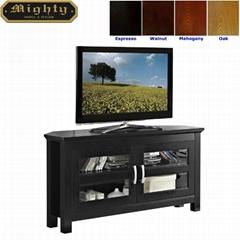 44 inch Wooden Small Black Corner TV Stand Unit