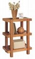 2PCS Wooden Living Room Natural Oak Block Wood Coffee Table