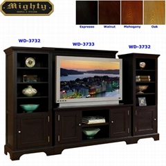 Wooden Espresso Wall Mount TV Stand Entertainment Center