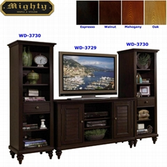 Home Theater Espresso Entertainment Center Audio Video Cabinet