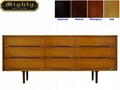66 inch 9 Drawer Cherry Wooden Vintage Chest Of Drawers