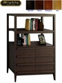 Wooden Walnut Open Wide Bookcase Cabinet