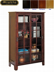 Wooden Walnut Office Modern Bookcase With Glass Doors