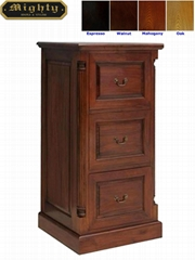Classic Antique Dark Cherry 3 Drawer File Cabinet