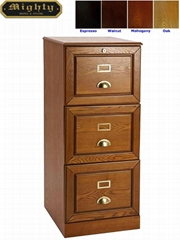 Wooden Oak Locking 3 Drawer Filing Cabinet