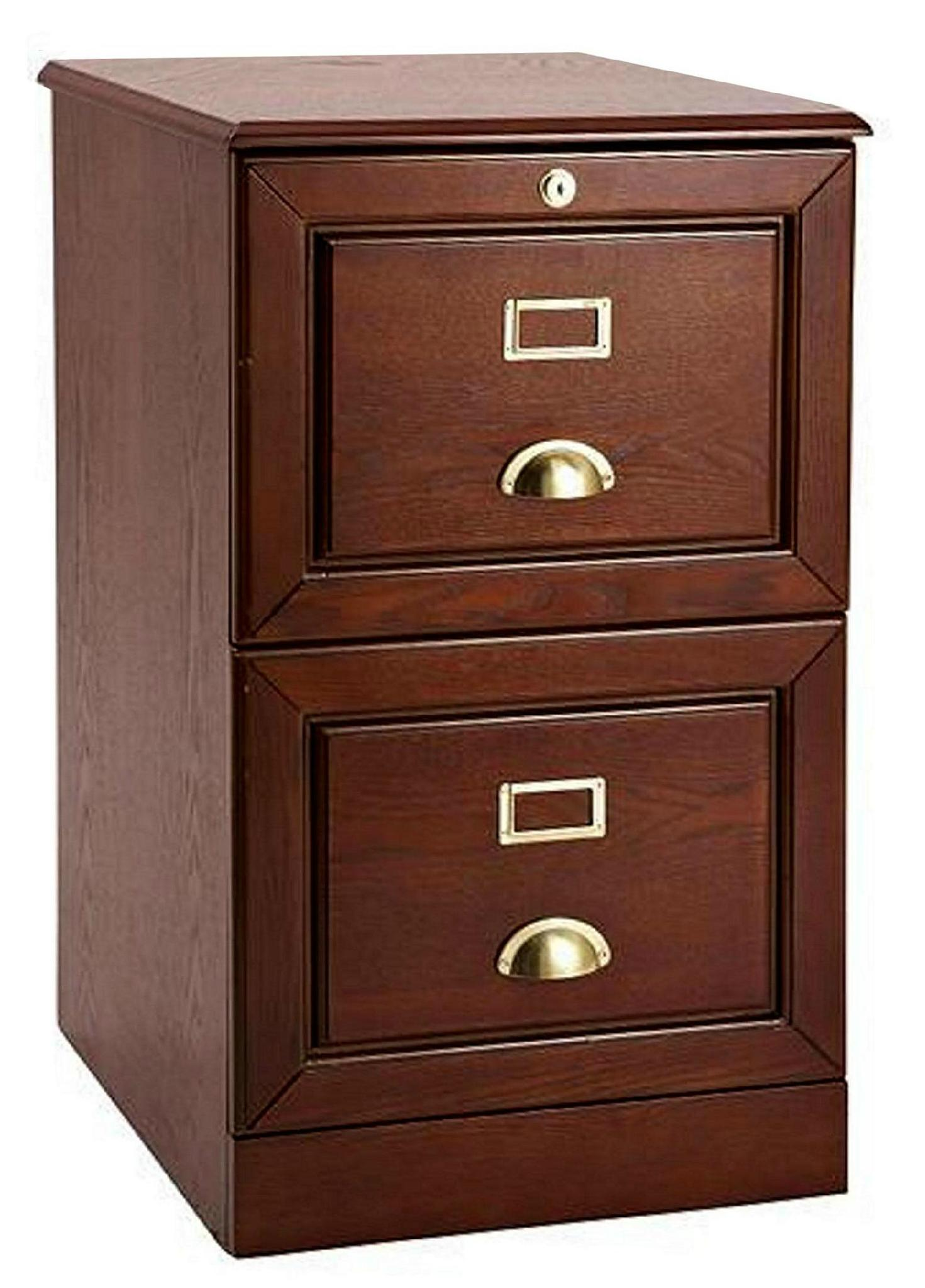 Wooden Oak Locking 2 Drawer File Cabinet Wd 3723