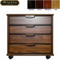 Wood Vertical Rolling 4 Drawer file cabinet Cart