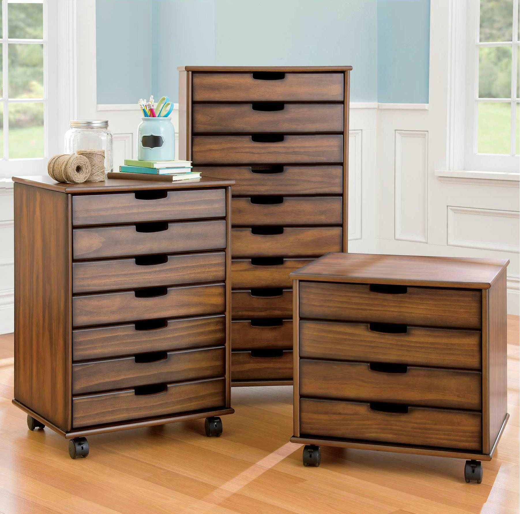 Wood Vertical Rolling 4 Drawer File Cabinet Cart Wd 3658