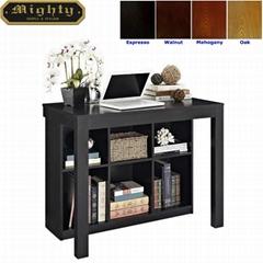 Wooden Storage Bookcase Black Writing Desk