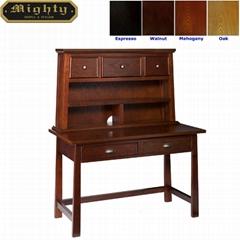 Wooden Mahogany Secretary Desk With Hutch