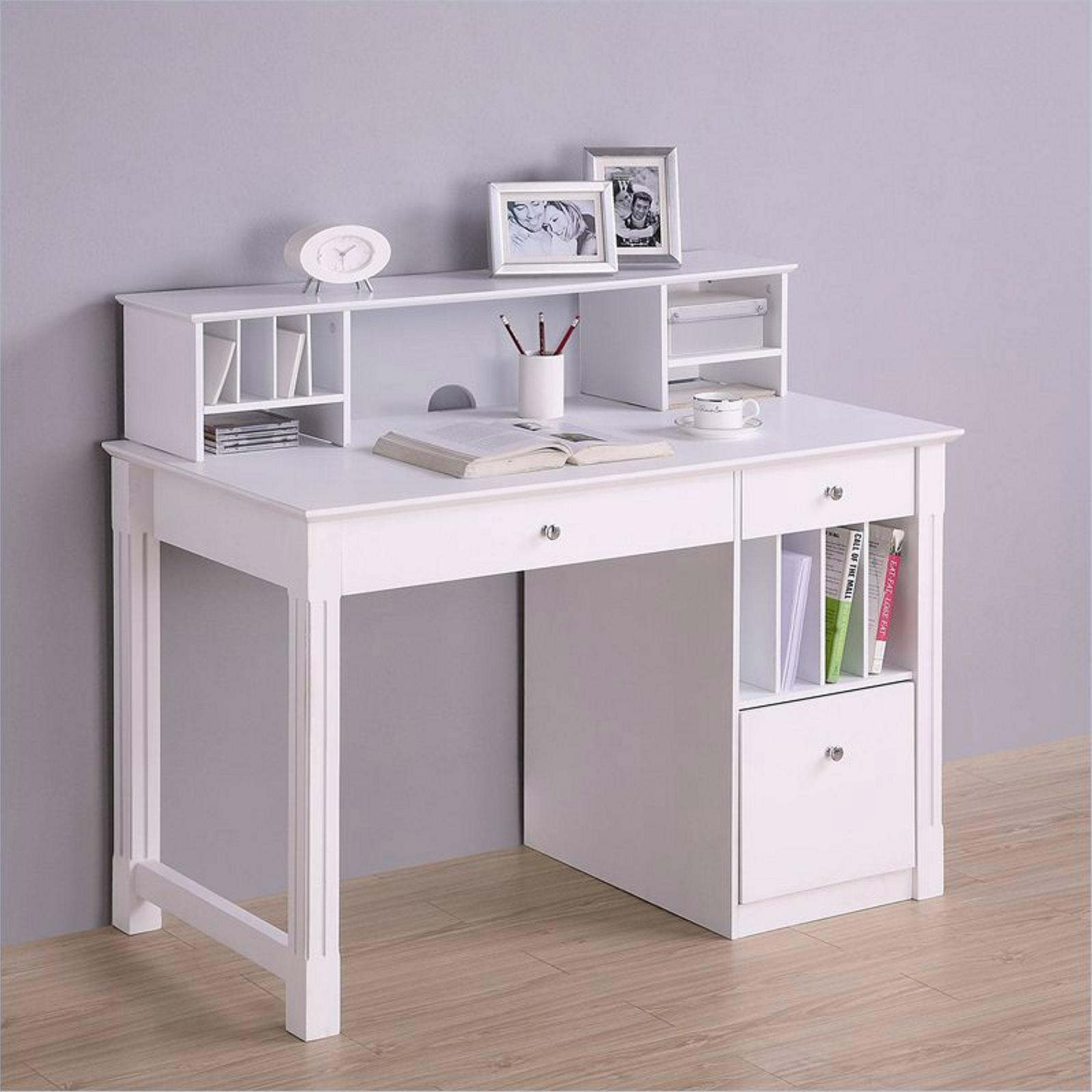 Home Reading Room Hutch Top White Office Desk Furniture 2