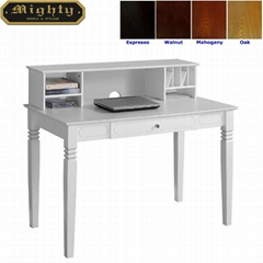 Home Office One Drawer White Small Computer Desk With Organizer