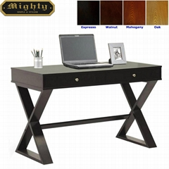 Wooden 2 Drawers X Shaped Leg Black Office Computer Desk