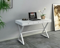 Wooden 3 Drawers X Shaped Leg White Office Table Desk