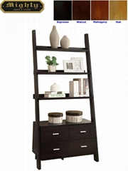 Wooden Black Ash 3 Shelf Leaning Ladder Bookcase With Drawers